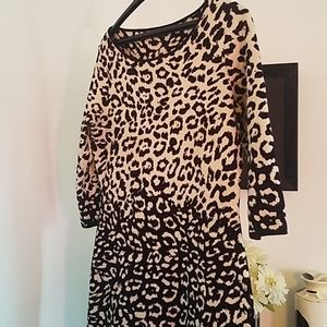 Winter Black and White Leopard Dress